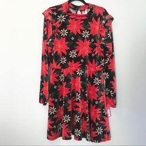 NWT Xhilaration Velvet Poinsettia Christmas Dress